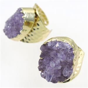 druzy Amethyst copper Ring, gold plated