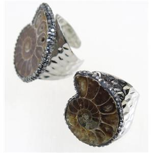 Ammonite Fossil copper Ring paved rhinestone, silver plated