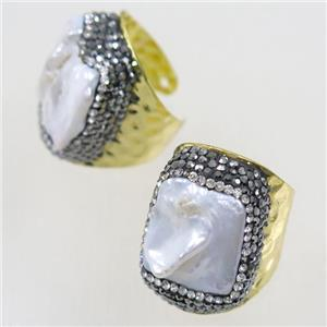 white Pearl copper Ring paved rhinestone, gold plated