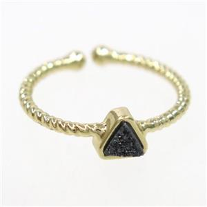 black druzy quartz ring, triangle, gold plated