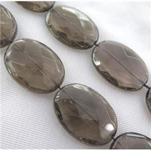 Smoky Quartz Beads, faceted oval