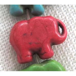 synthetic Turquoise beads, elephant, red