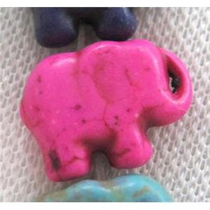 Turquoise beads, elephant, synthetic, hot-pink