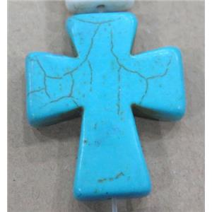 blue turquoise bead, cross, synthetic