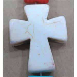 white turquoise beads, cross, synthetic