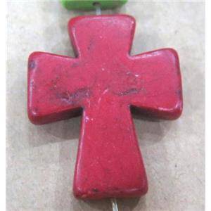 red turquoise bead, cross, synthetic