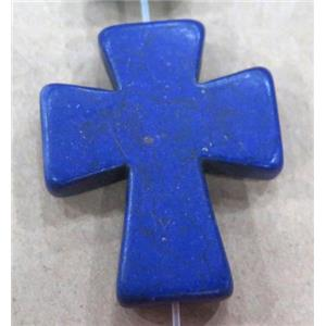 deep-blue turquoise bead, cross, synthetic