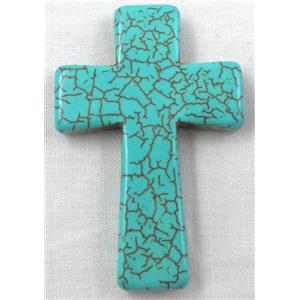 Chalky Turquoise, stabilized, Crosses Pendant