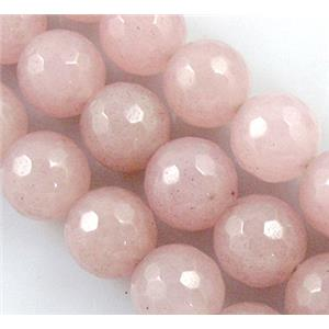 round Jade Beads, stabile, pink, faceted