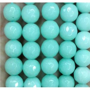 Amazonite jade bead, stabile, faceted round, green