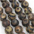 round black crackle Tibetan Agate Beads, eye, approx 10mm dia