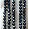 black spinel tiny beads, faceted round