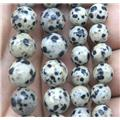 faceted round spotted Dalmatian Jasper beads, approx 10mm dia