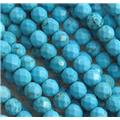 blue treated turquoise beads, faceted round