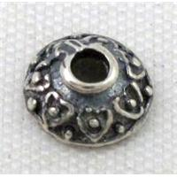 Thailand Sterling Silver beadcaps, antique silver, approx 6.5mm dia
