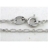 Sterling Silver Necklace Chain, platinum plated, approx 1.6x3.2mm, 1.6x2mm, 16 inch long