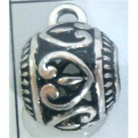 hollow, round tibetan silver hanger bead, lead free and nickel free
