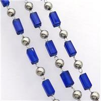 stainless steel chain with blue crystal glass, approx 4mm, 3.5-7mm