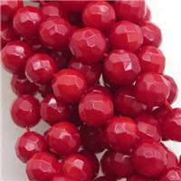 red coral beads, faceted round, approx 6mm dia