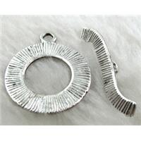 Tibetan Silver toggle clasps, 26mm dia, stick:35mm long