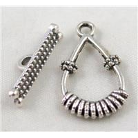 Tibetan Silver Toggle Clasp Non-Nickel, approx 15x24mm, stick 20mm