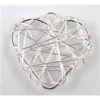 heart findings pendant, silver plated