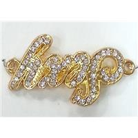 bracelet bar, alloy connector with rhinestone, gold, approx 18x34mm