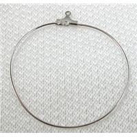 copper Earring Hoop, platinum plated, 40mm dia