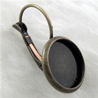 round bezel cup and leverback earring, copper, bronze plated, 16mm cap