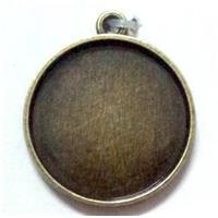 cabochon pad, alloy pendant, bronze, nickel free and lead free, inside 25mm dia