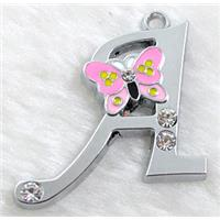 Alphabet bead pendants, A-letter, enamel butterfly, rhinestone, 30x30mm, Platinum plated
