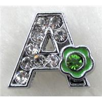 Alphabet bead, A-mix-letter, enamel, rhinestone, approx 12x12mm, hole:8mm wide