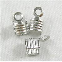 Crimp Cord Ends, Copper, Platinum Plated, 4x4mm