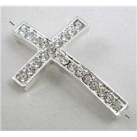 bracelet bar, cross with rhinestone, alloy bead, silver