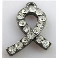 cancer awareness ribbon, alloy pendant with rhinestone, black, approx 12x26mm