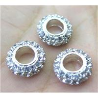 alloy spacer bead with rhinestone, rondelle, approx 10mm dia