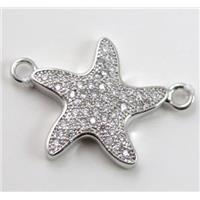 copper seaStar connector paved zircon, platinum plated, approx 18mm dia