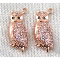 copper owl pendant paved zircon, rose gold, approx 10-21mm
