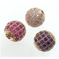 round copper beads pave zircon, gold plated, mix
