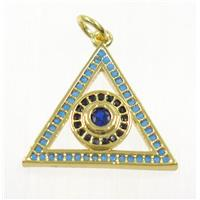 copper Triangle pendant paved zircon with evil eye, gold plated, approx 17-20mm