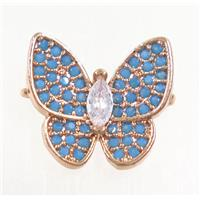 copper butterfly connector paved zircon, turq, rose gold, approx 13-14mm