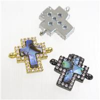 copper cross connector paved zircon with abalone shell, mixed, approx 10-11mm