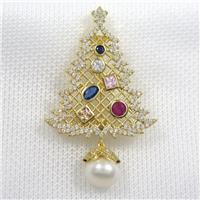 christmas tree copper brooch paved zircon, gold plated
