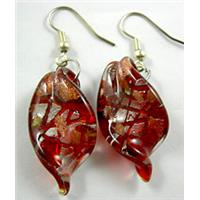 Red twist Leaf Lampwork Fashion Earring, 17x30mm, 50mm long