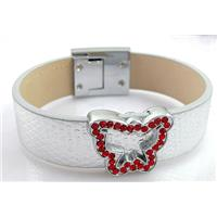 PU Leather Bracelet, alloy bead with mideast rhinestone, 18mm wide, 8 inch long