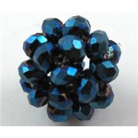 handmade glass crystal cluster ball, blue electroplated, 16mm dia, bead:4mm