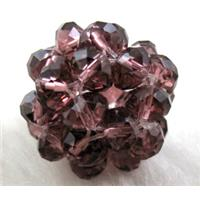 handmade glass crystal cluster ball, purple, 16mm dia, bead:4mm
