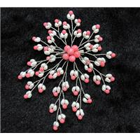 handmade brooch with freshwater pearl, pink coral beads