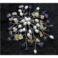 handmade brooch with freshwater pearl, amethyst, citrine beads