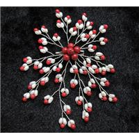 handmade brooch with freshwater pearl, red coral beads